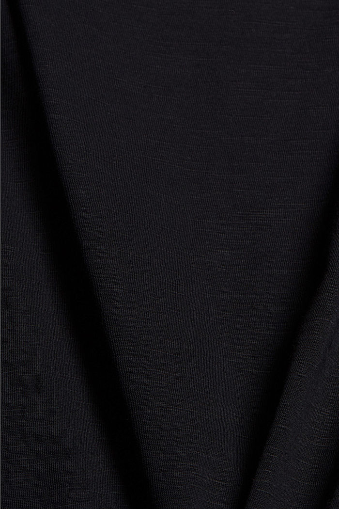 T-shirt with broderie anglaise, organic cotton, BLACK, detail image number 4