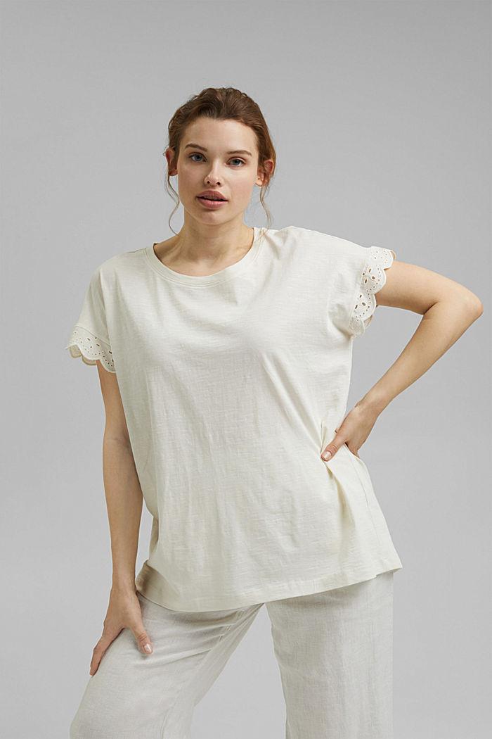 Tričko s dírkovanoukrajkou, bio bavlna, OFF WHITE, detail image number 0
