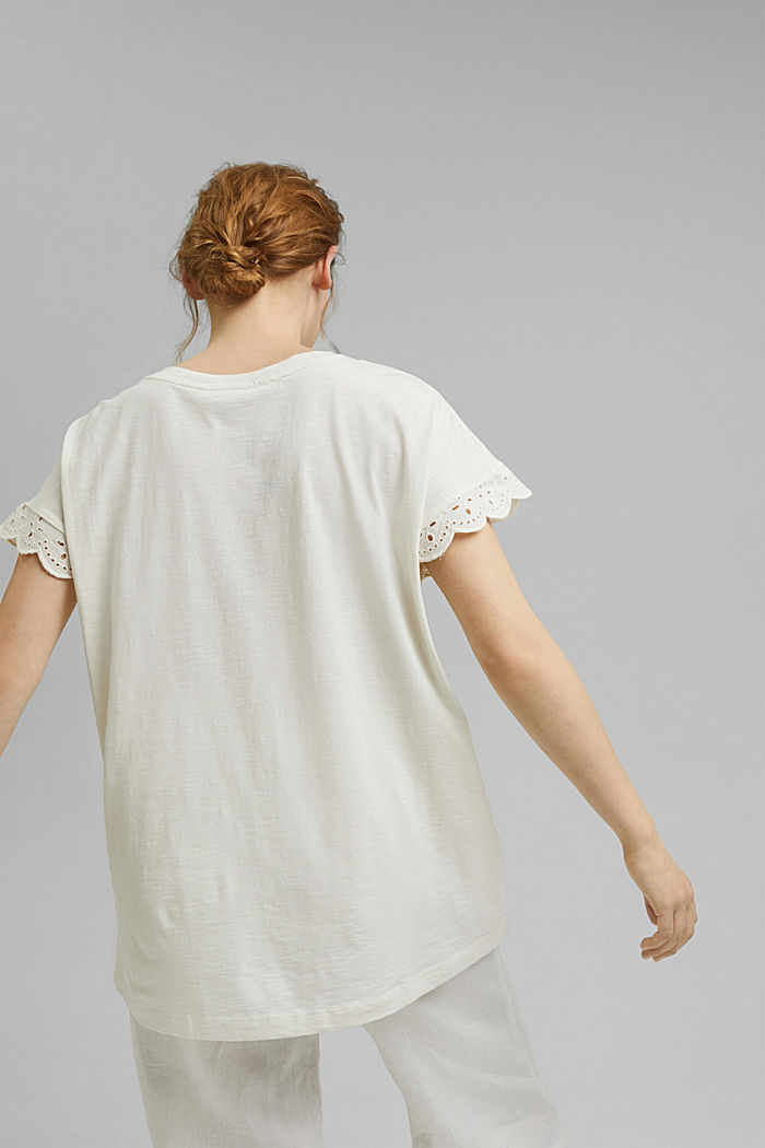 Tričko s dírkovanoukrajkou, bio bavlna, OFF WHITE, detail image number 3
