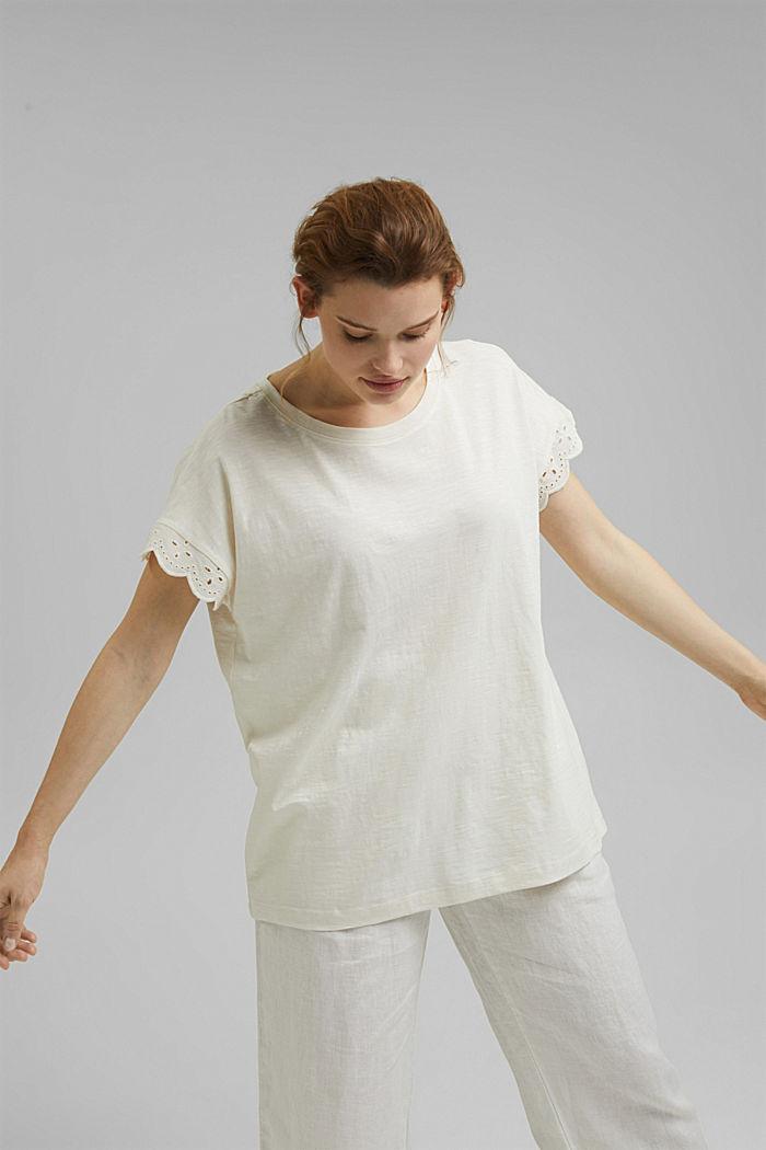 Tričko s dírkovanoukrajkou, bio bavlna, OFF WHITE, detail image number 5