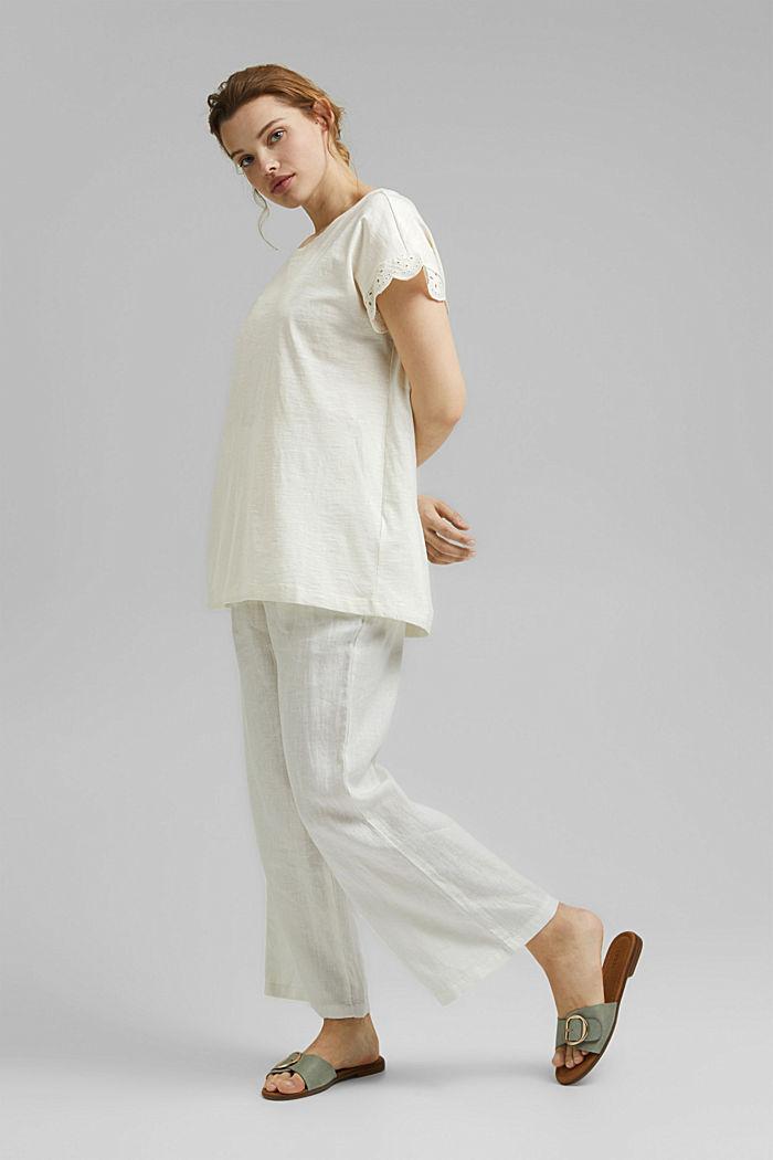 Tričko s dírkovanoukrajkou, bio bavlna, OFF WHITE, detail image number 1
