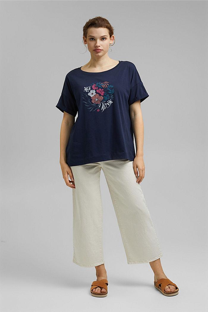 CURVY print T-shirt, 100% organic cotton, NAVY, detail image number 1