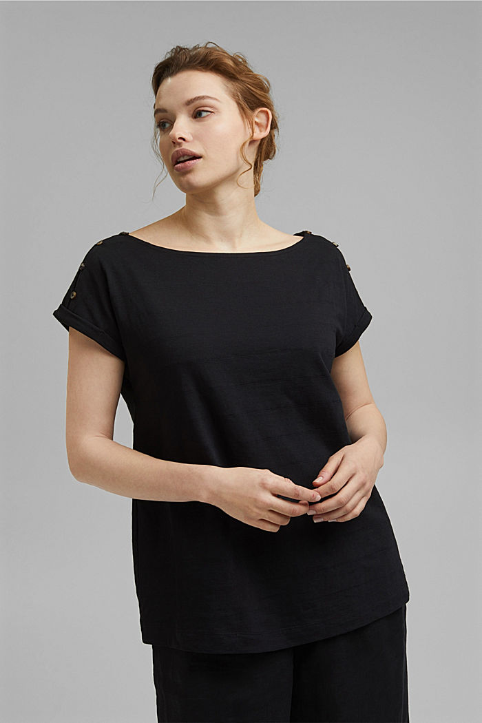 CURVY button detail T-shirt, organic cotton, BLACK, detail image number 5