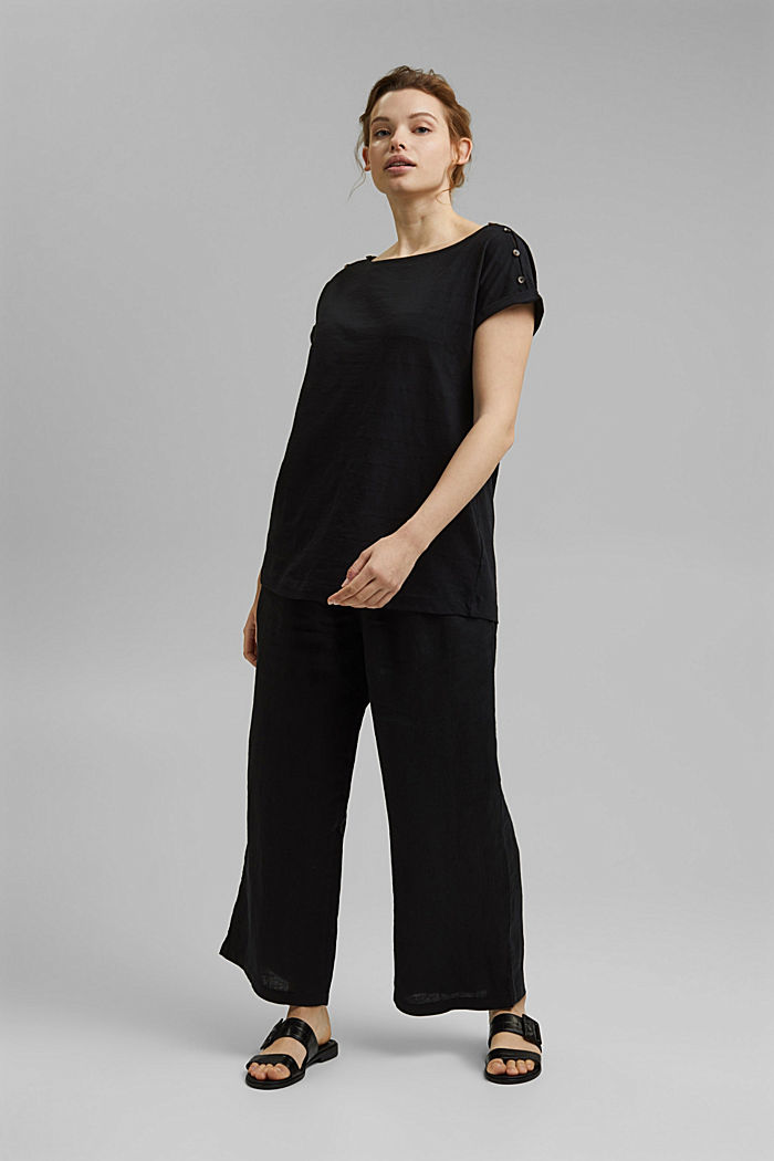 CURVY button detail T-shirt, organic cotton, BLACK, detail image number 1