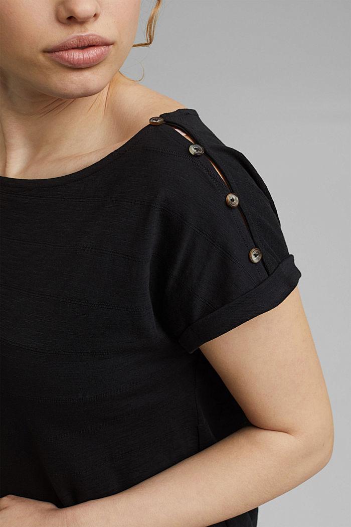 CURVY button detail T-shirt, organic cotton, BLACK, detail image number 2