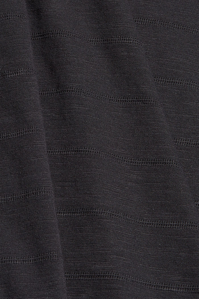 CURVY button detail T-shirt, organic cotton, BLACK, detail image number 4
