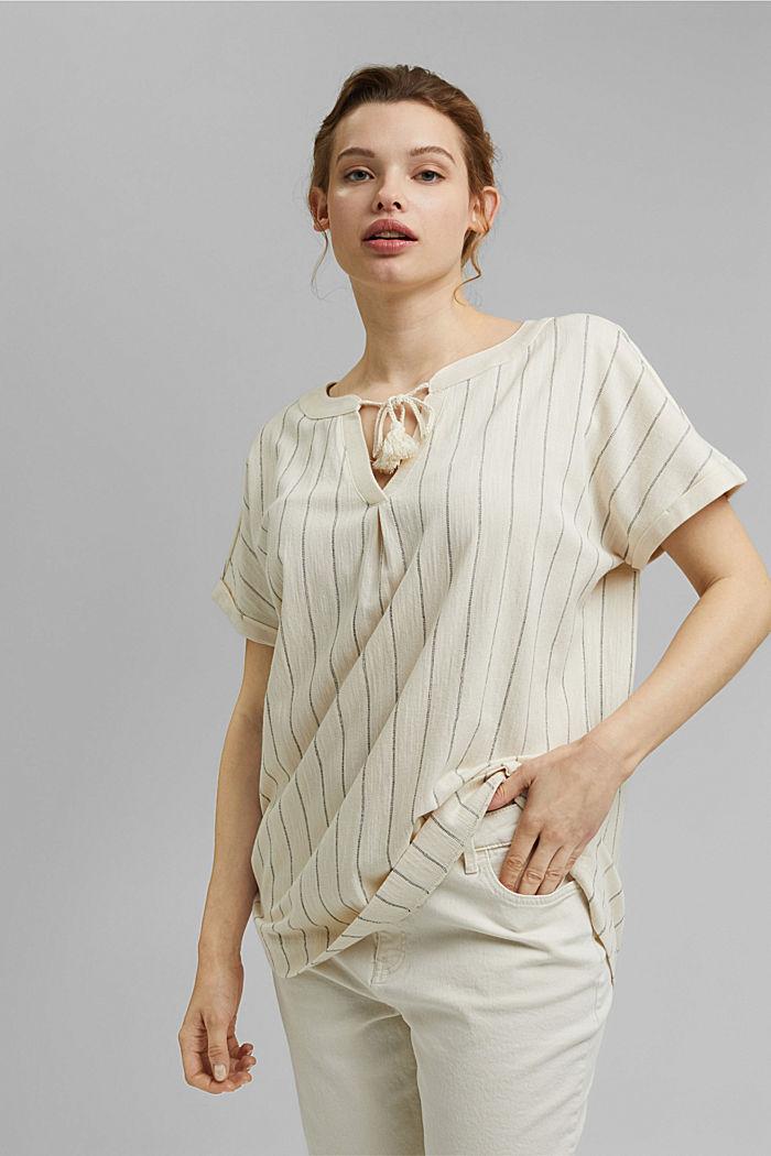 CURVY: tričko v halenkovém stylu, bio bavlna, OFF WHITE, detail image number 0