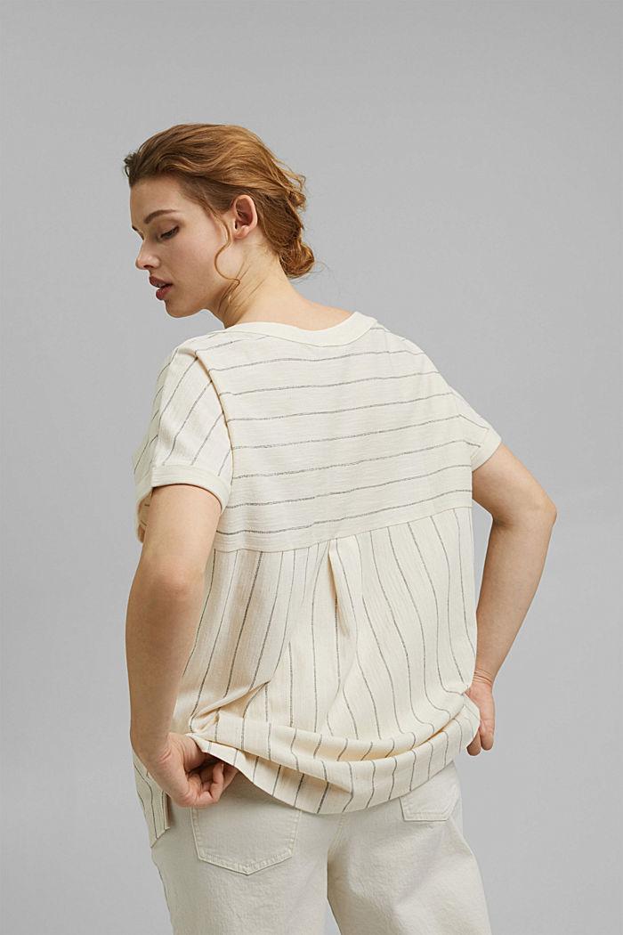 CURVY: tričko v halenkovém stylu, bio bavlna, OFF WHITE, detail image number 3
