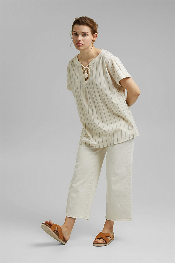 CURVY: tričko v halenkovém stylu, bio bavlna, OFF WHITE, detail image number 1