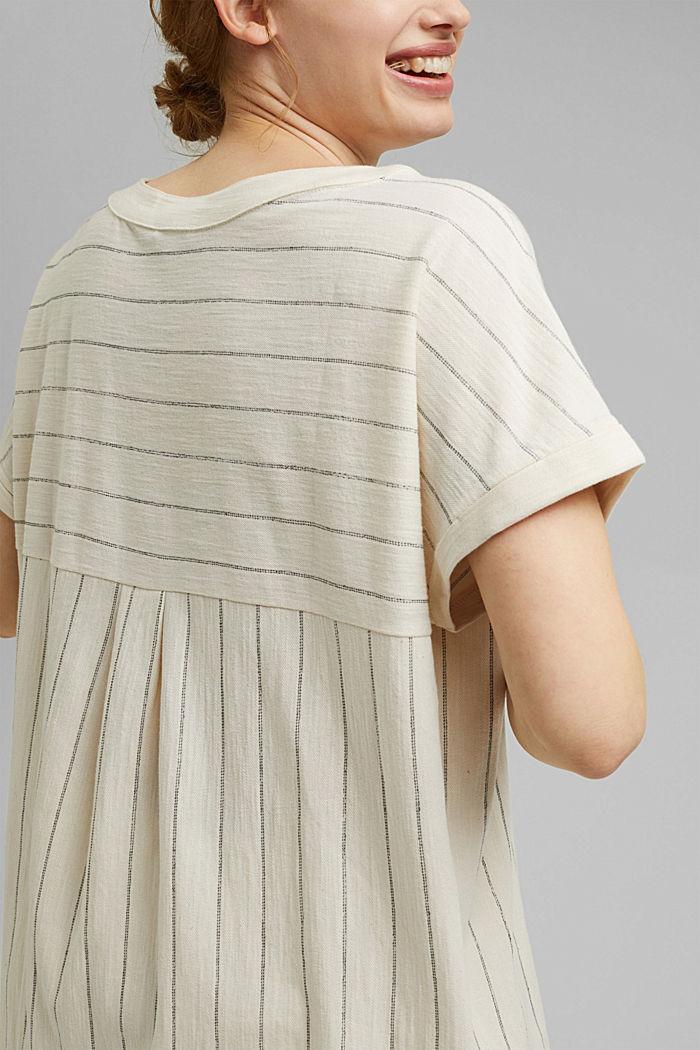 CURVY: tričko v halenkovém stylu, bio bavlna, OFF WHITE, detail image number 2