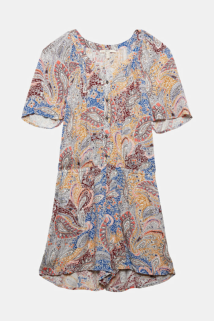 Crinkle jumpsuit with a paisley print
