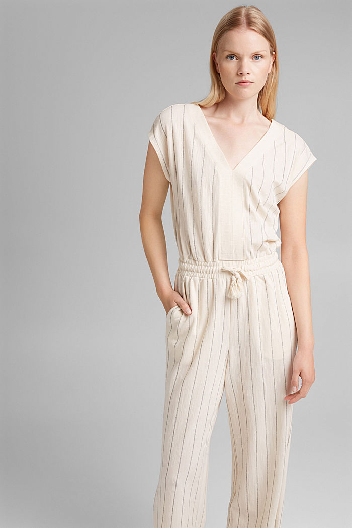 Striped jumpsuit made of blended cotton