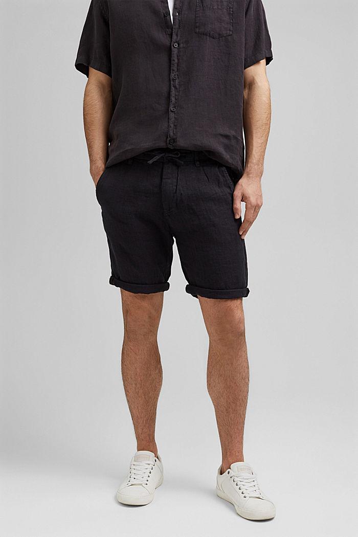 En lino: pantalón corto con cintura elástica, BLACK, detail image number 0