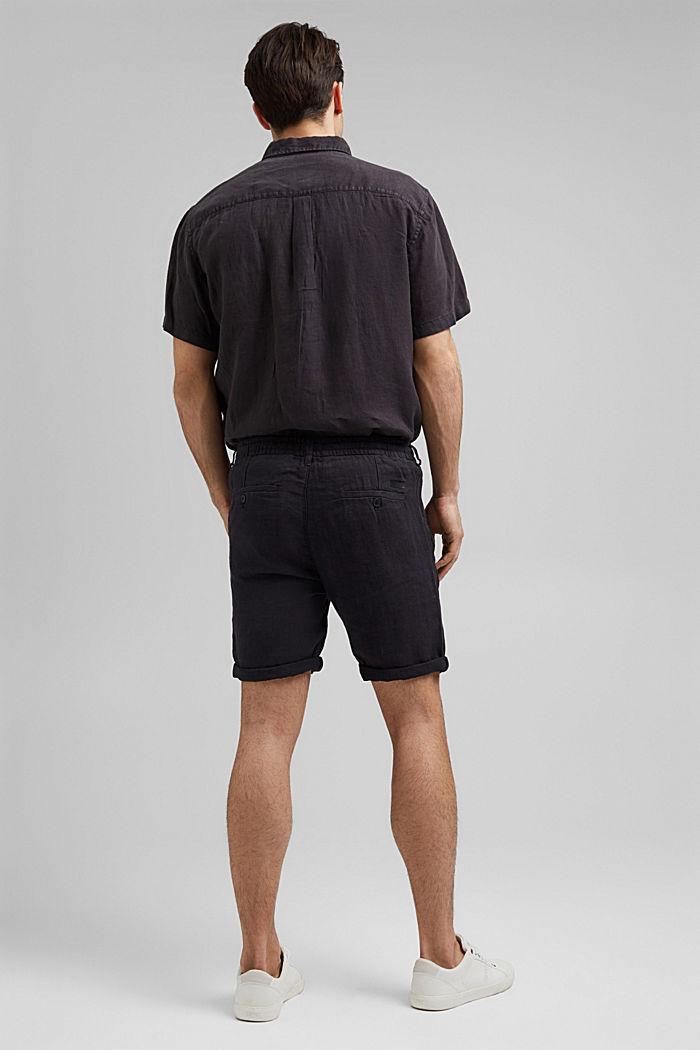 En lino: pantalón corto con cintura elástica, BLACK, detail image number 3