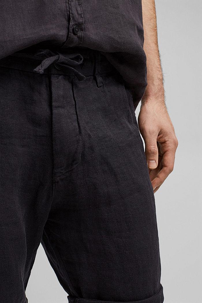 En lino: pantalón corto con cintura elástica, BLACK, detail image number 2