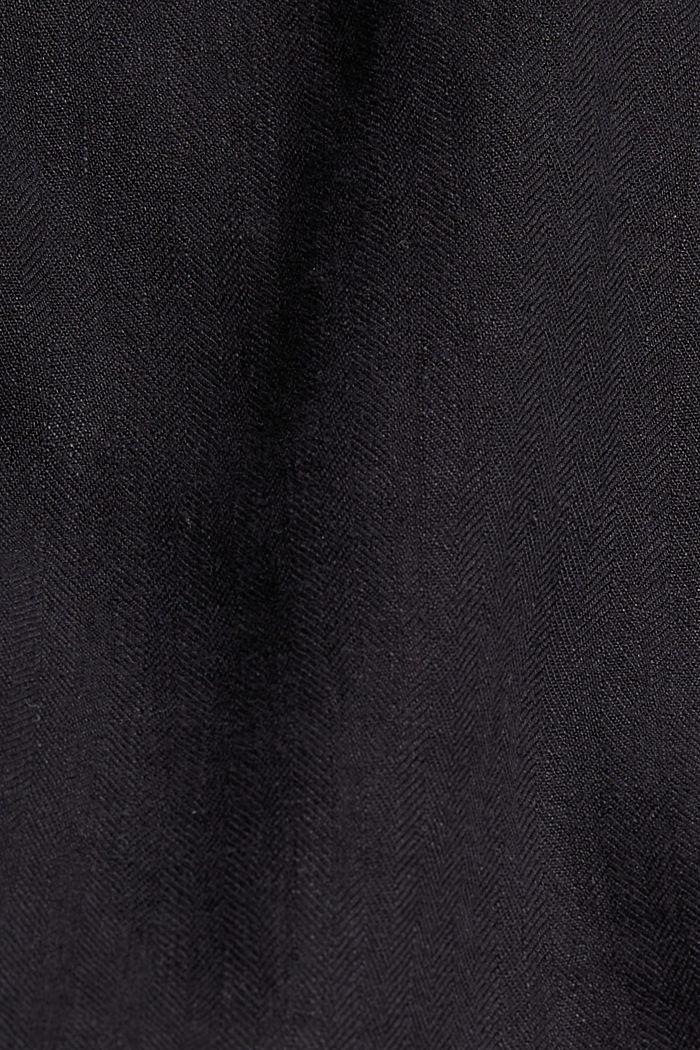 En lino: pantalón corto con cintura elástica, BLACK, detail image number 4