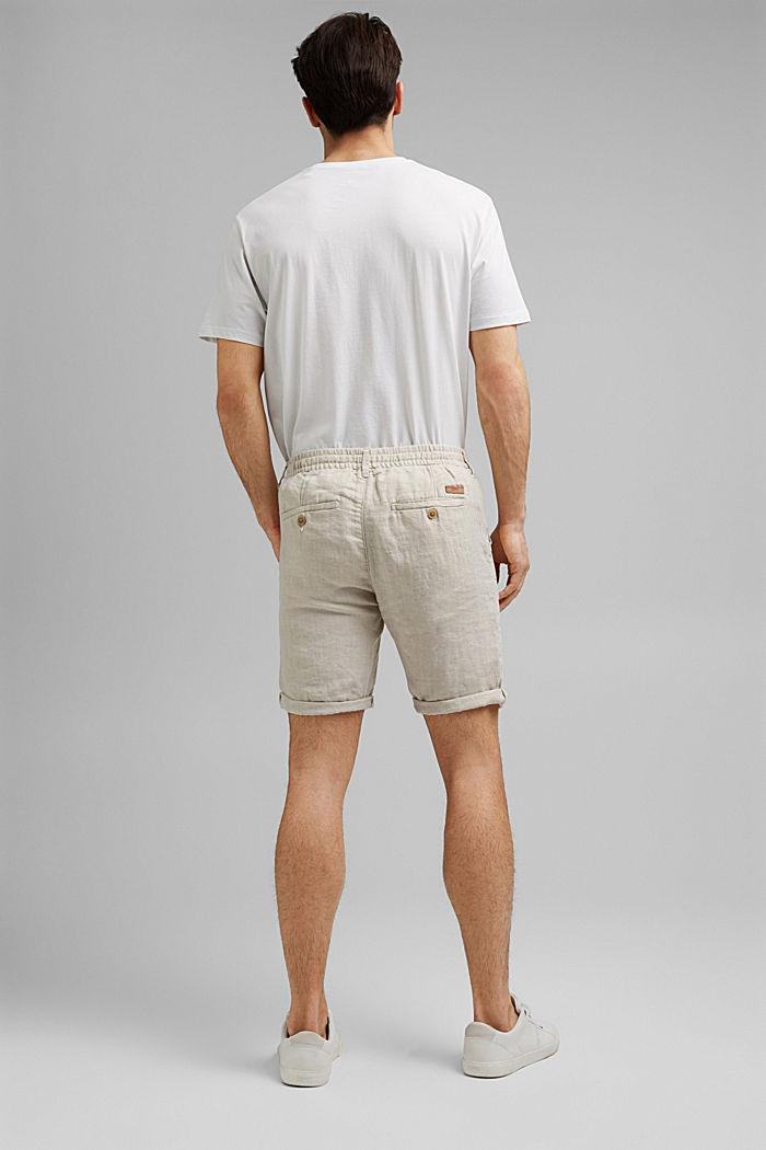 Aus Leinen: Shorts mit Gummizugbund, OFF WHITE, detail image number 3