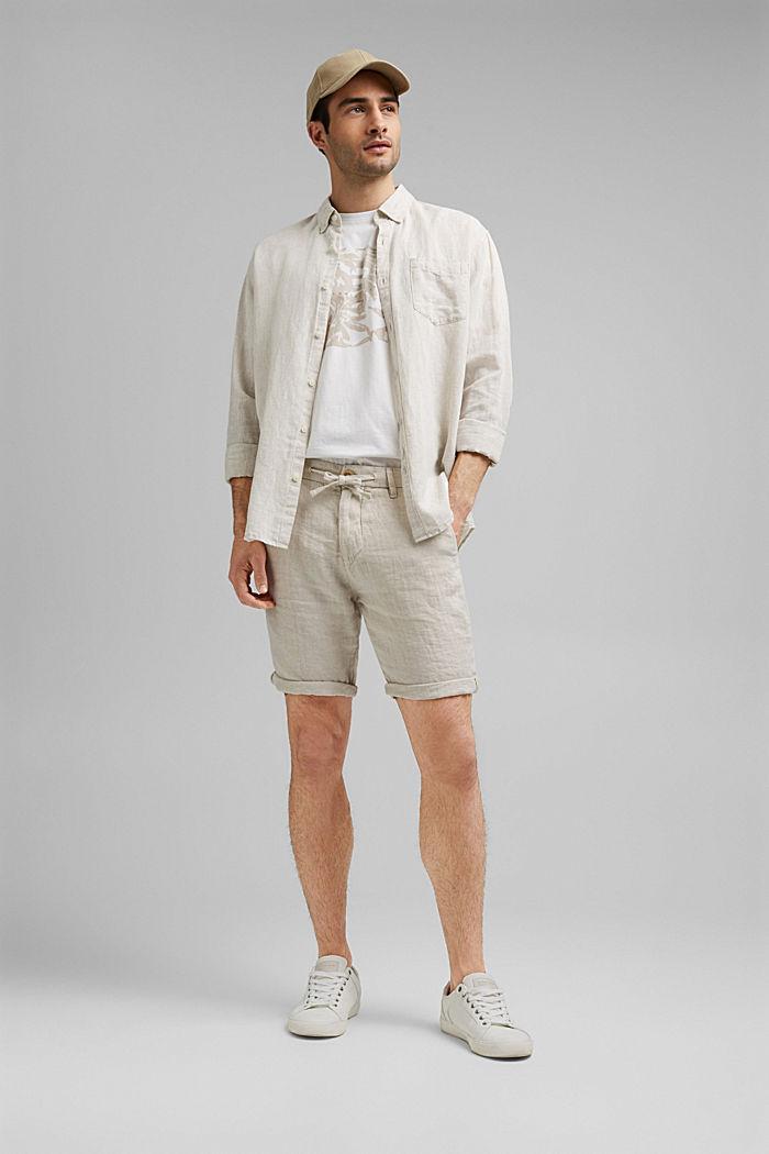 Aus Leinen: Shorts mit Gummizugbund, OFF WHITE, detail image number 1
