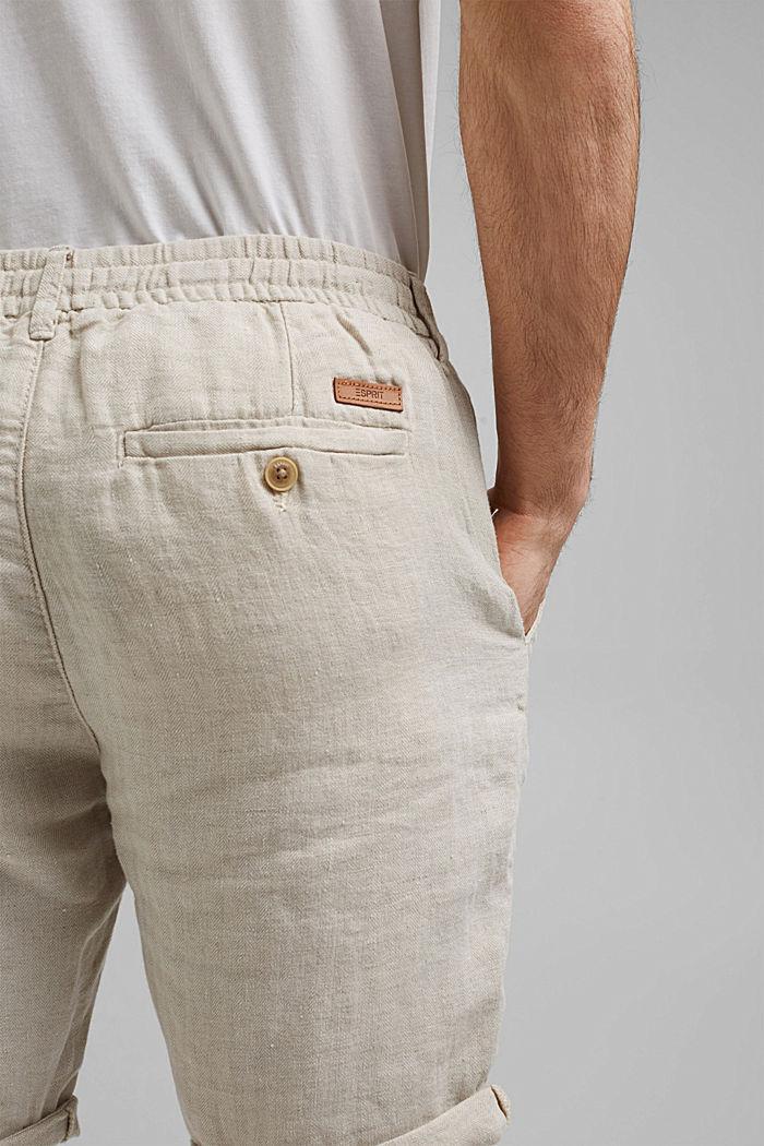 Aus Leinen: Shorts mit Gummizugbund, OFF WHITE, detail image number 2
