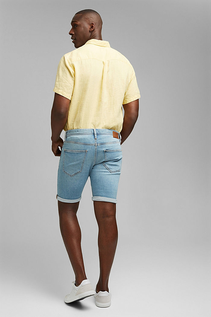 Slim-fitting denim shorts made of an organic cotton/lyocell blend, BLUE LIGHT WASHED, detail image number 3