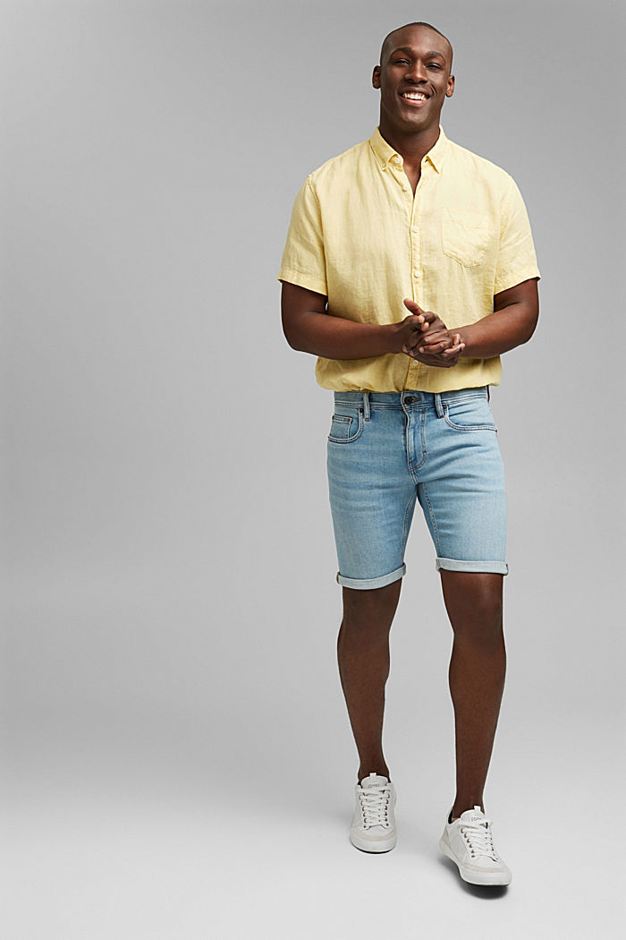 Slim-fitting denim shorts made of an organic cotton/lyocell blend, BLUE LIGHT WASHED, detail image number 1