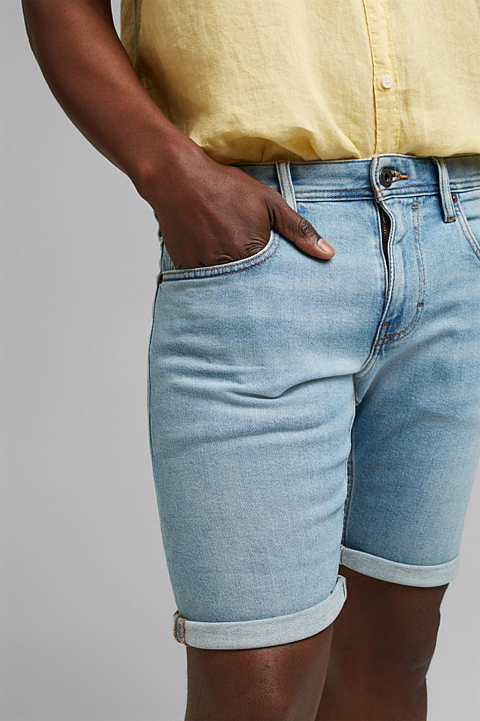 Slim-fitting denim shorts made of an organic cotton/lyocell blend, BLUE LIGHT WASHED, detail image number 2