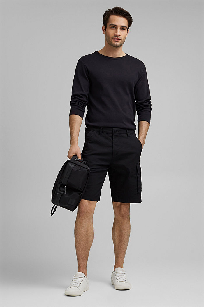 Cargo shorts with COOLMAX®, organic cotton, BLACK, detail image number 1