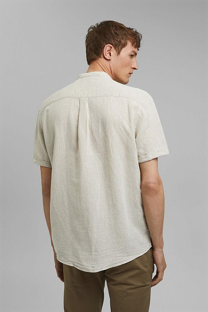 Van een linnenmix: overhemd met korte mouwen en opstaande kraag, LIGHT BEIGE, detail image number 3