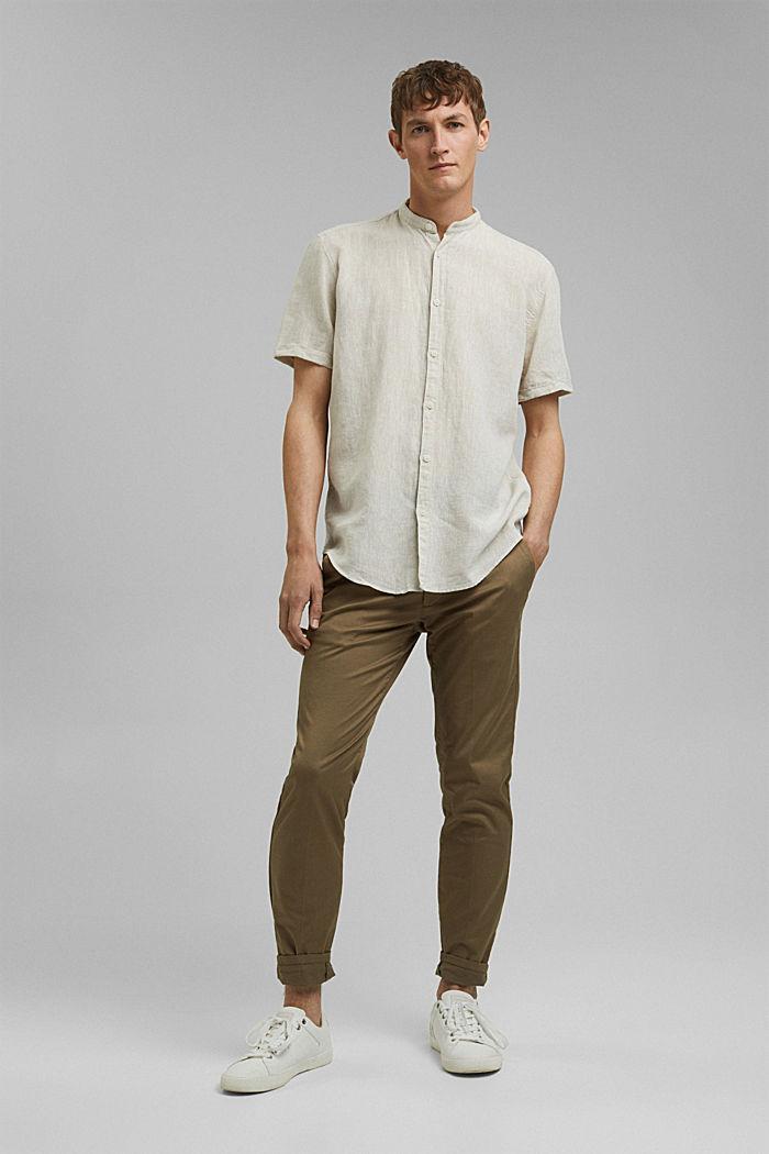 Van een linnenmix: overhemd met korte mouwen en opstaande kraag, LIGHT BEIGE, detail image number 1