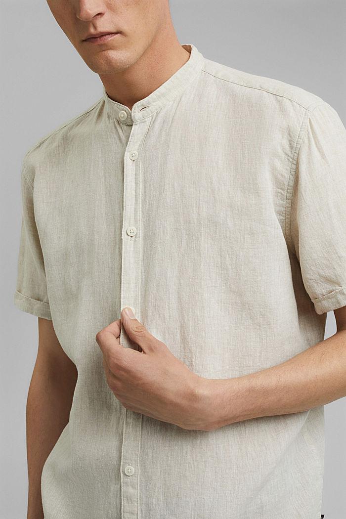 Van een linnenmix: overhemd met korte mouwen en opstaande kraag, LIGHT BEIGE, detail image number 2