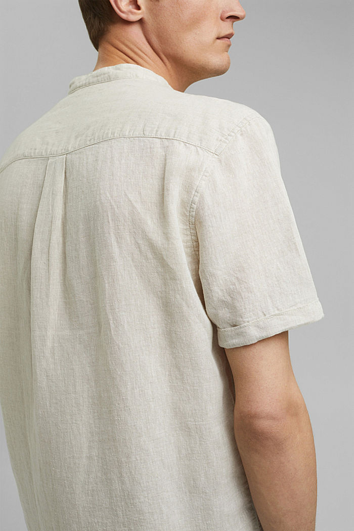 Van een linnenmix: overhemd met korte mouwen en opstaande kraag, LIGHT BEIGE, detail image number 4