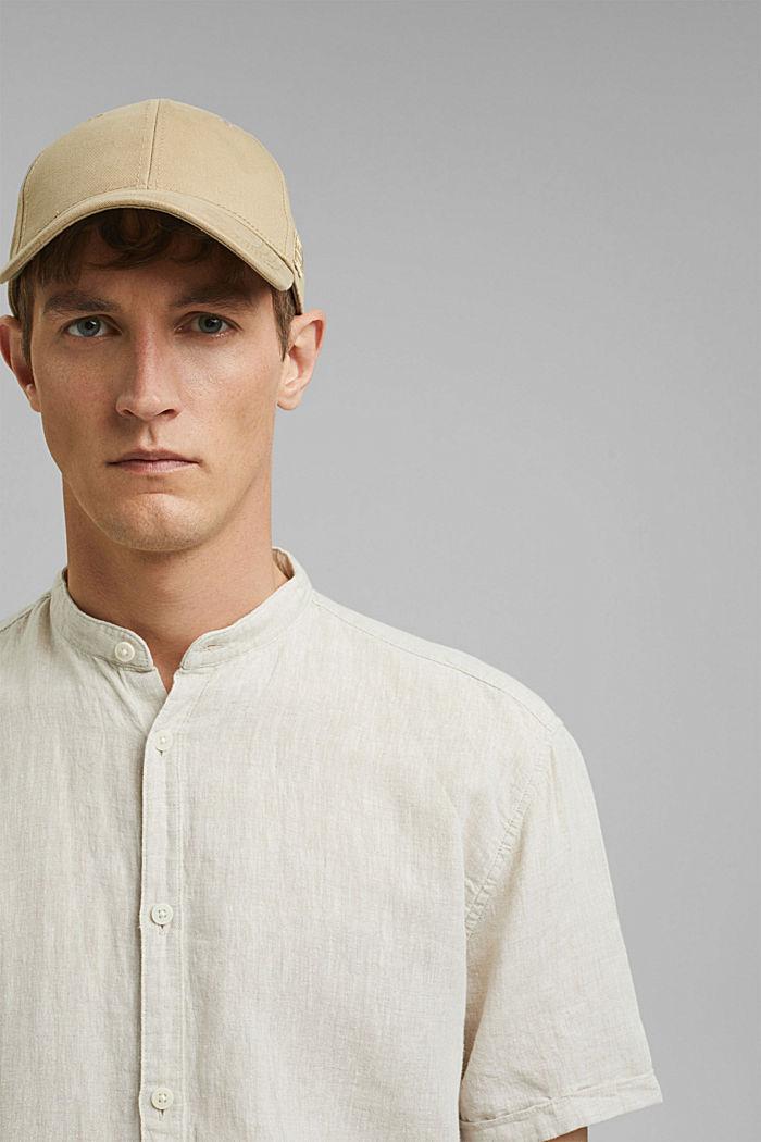 Van een linnenmix: overhemd met korte mouwen en opstaande kraag, LIGHT BEIGE, detail image number 6