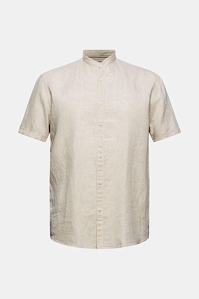 Van een linnenmix: overhemd met korte mouwen en opstaande kraag