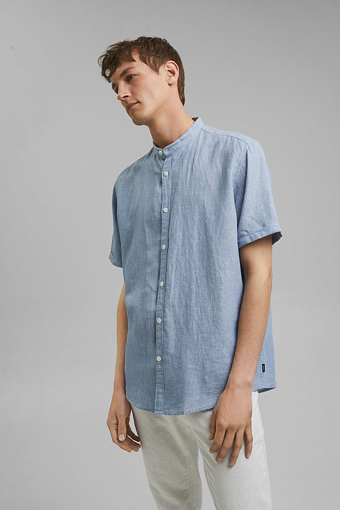 Made of blended linen: short-sleeved shirt with a band collar, GREY BLUE, detail image number 0