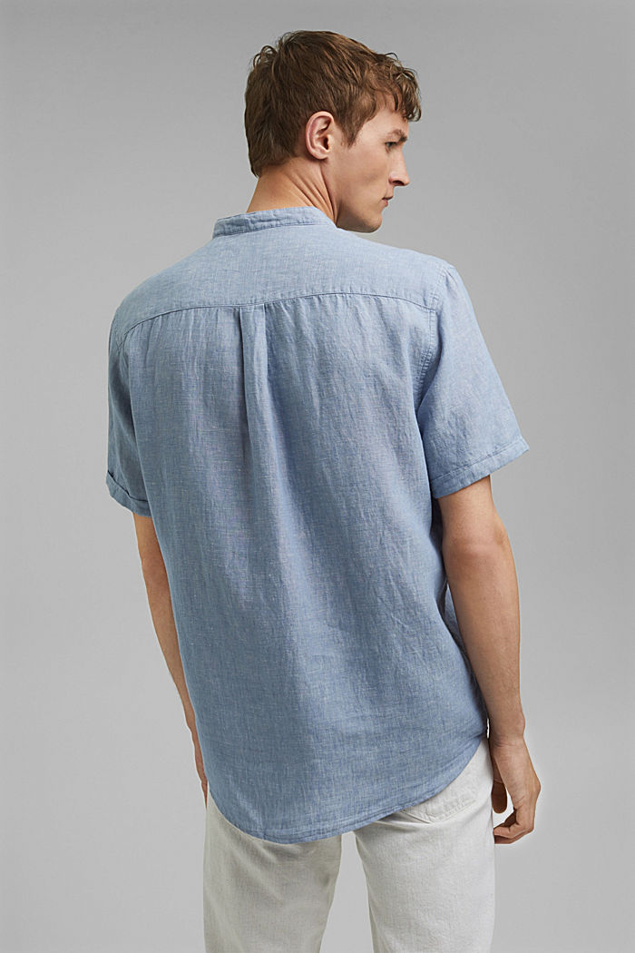 Made of blended linen: short-sleeved shirt with a band collar, GREY BLUE, detail image number 3