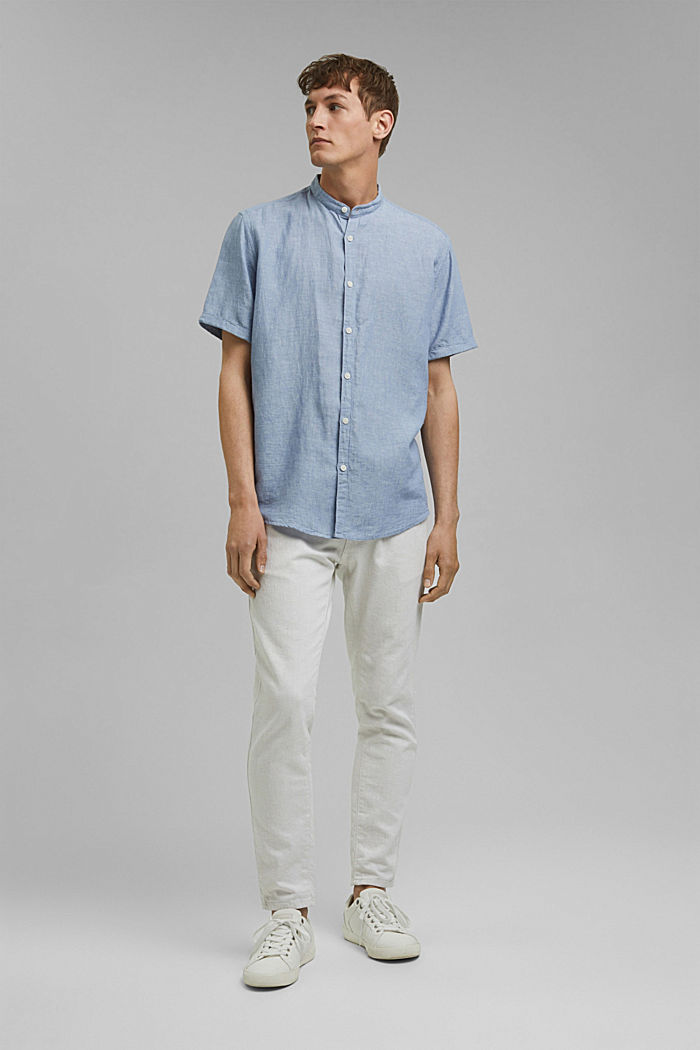 Made of blended linen: short-sleeved shirt with a band collar, GREY BLUE, detail image number 1