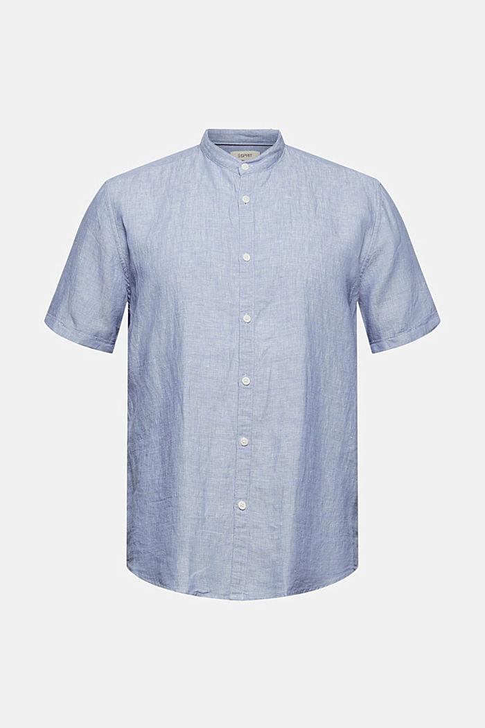 I linnemix: kortärmad skjorta med ståkrage