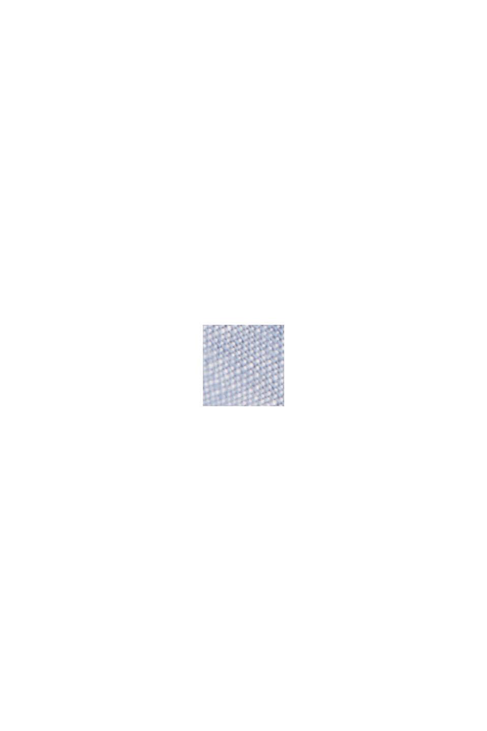 Van een linnenmix: overhemd met korte mouwen en opstaande kraag, GREY BLUE, swatch