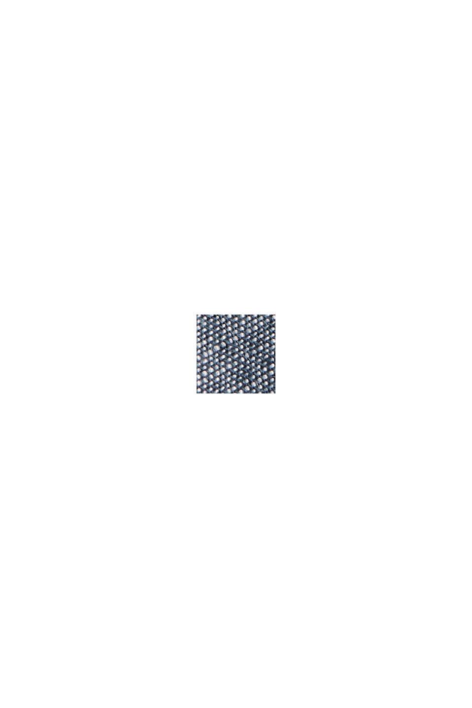 Van een linnenmix: overhemd met korte mouwen en opstaande kraag, TEAL BLUE, swatch
