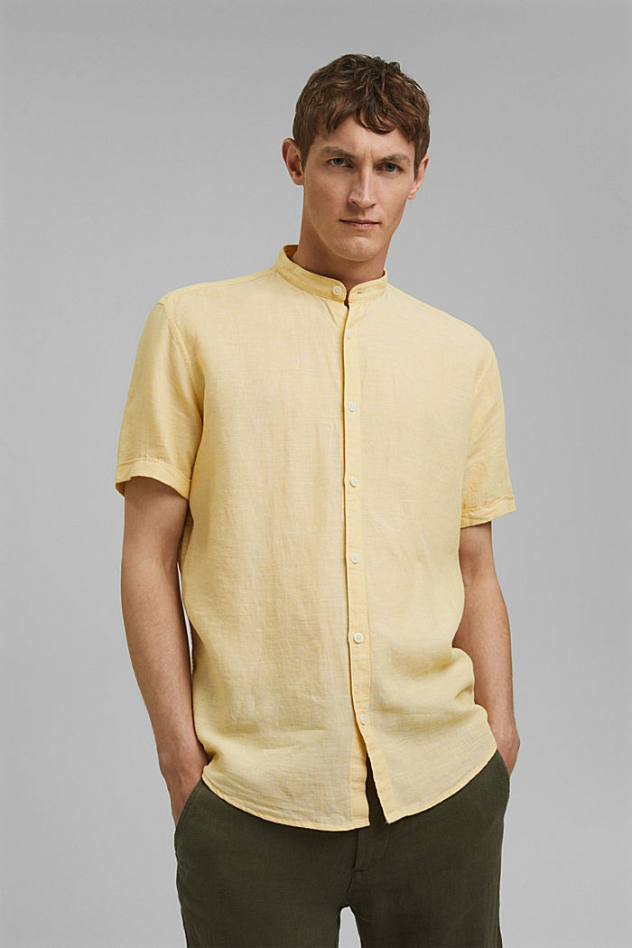 Made of blended linen: short-sleeved shirt with a band collar, LIGHT YELLOW, detail image number 0