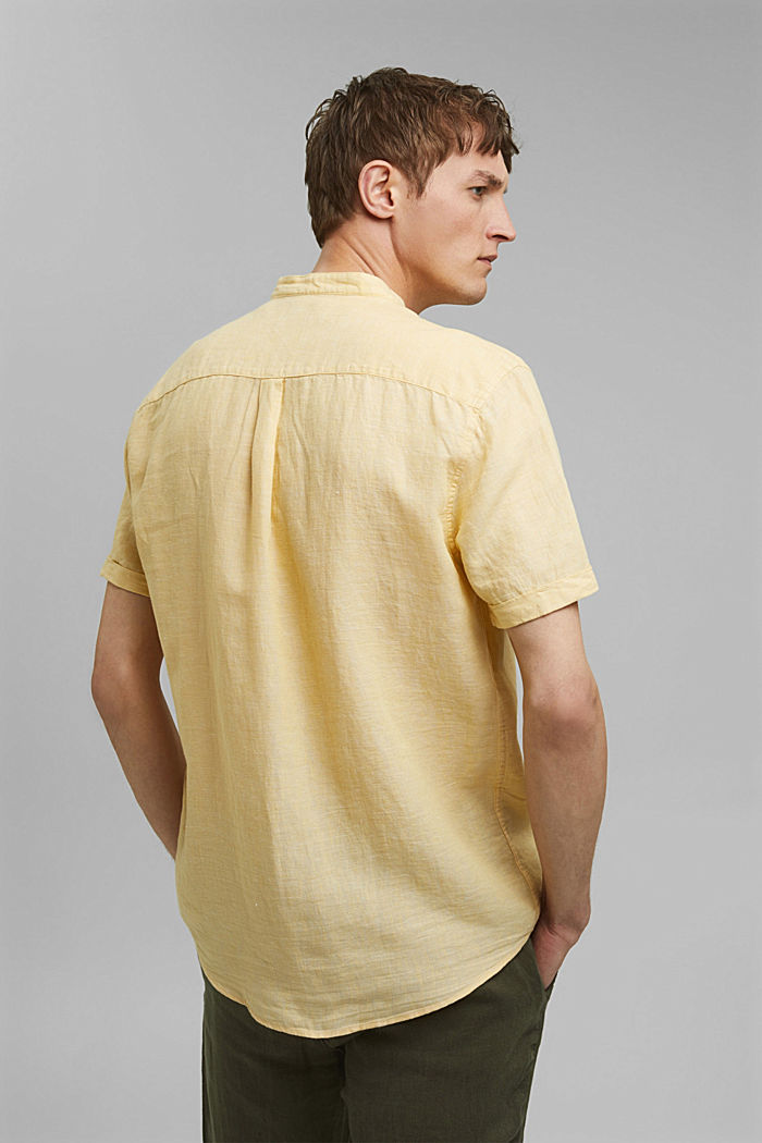 Made of blended linen: short-sleeved shirt with a band collar, LIGHT YELLOW, detail image number 3