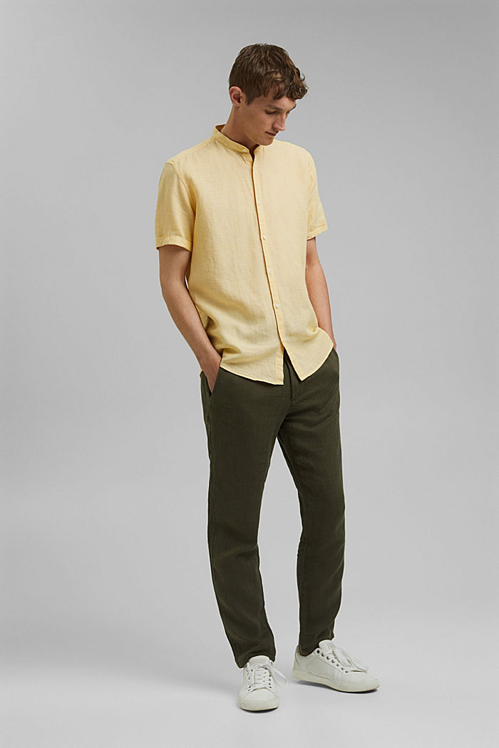 Made of blended linen: short-sleeved shirt with a band collar, LIGHT YELLOW, detail image number 4