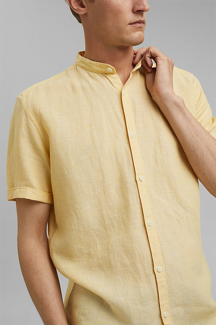 Made of blended linen: short-sleeved shirt with a band collar, LIGHT YELLOW, detail image number 2