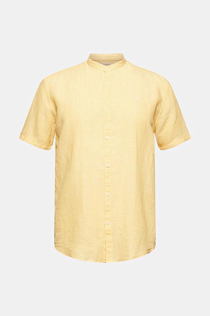 Aus Leinen-Mix: Kurzarm-Hemd mit Stegkragen