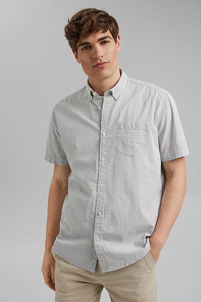 Košile s krátkým rukávem a pomačkaným efektem, bio bavlna, DARK KHAKI, detail image number 0