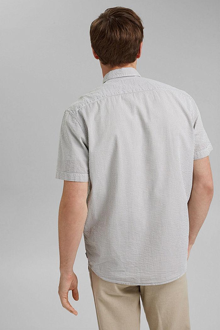 Košile s krátkým rukávem a pomačkaným efektem, bio bavlna, DARK KHAKI, detail image number 3