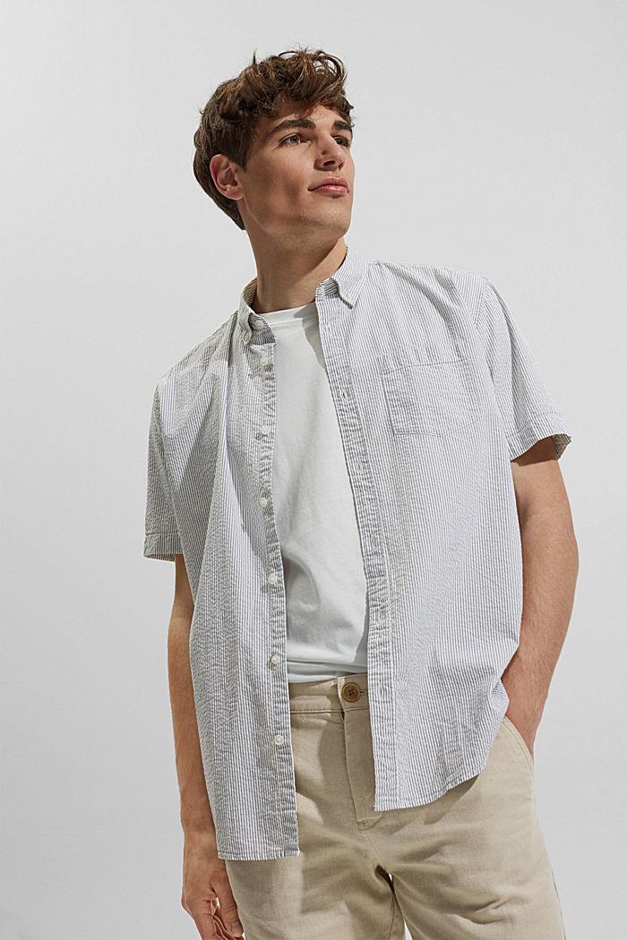 Košile s krátkým rukávem a pomačkaným efektem, bio bavlna, DARK KHAKI, detail image number 5