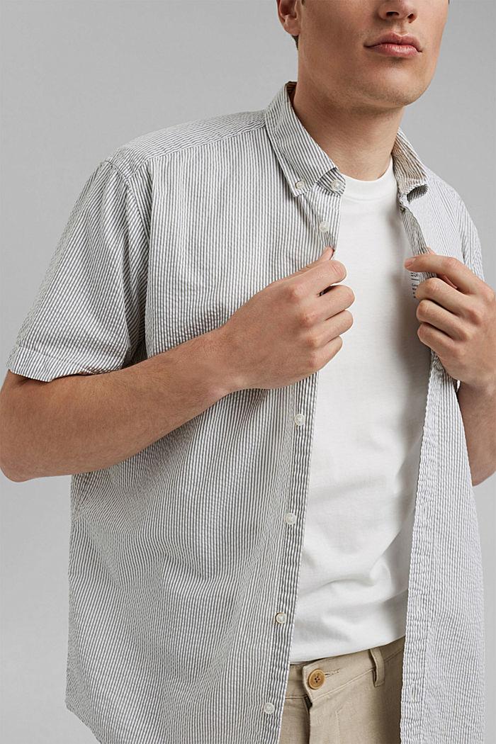 Košile s krátkým rukávem a pomačkaným efektem, bio bavlna, DARK KHAKI, detail image number 2
