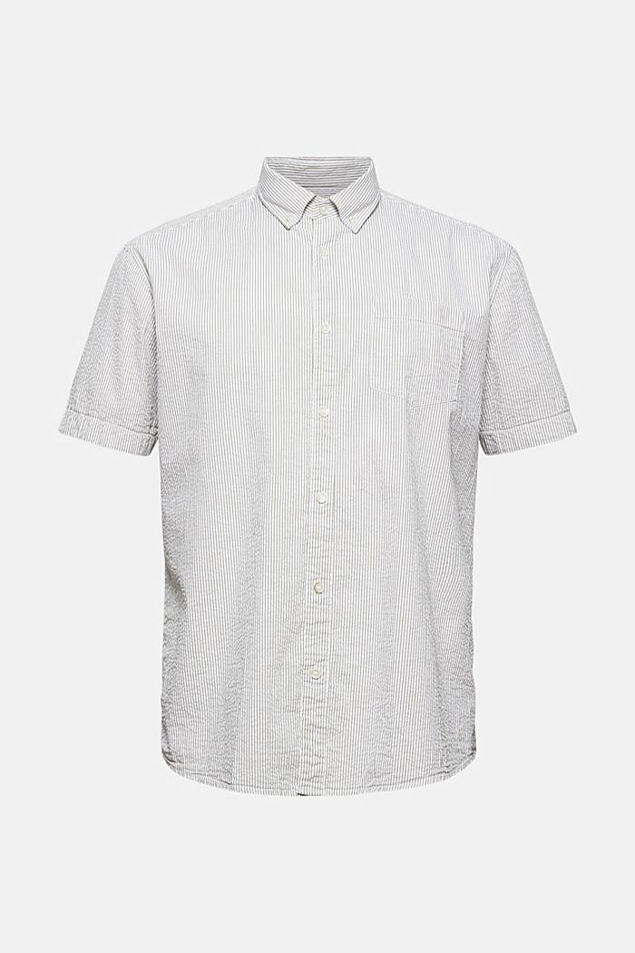 Overhemd met korte mouwen en kreukeffecten, biologisch katoen