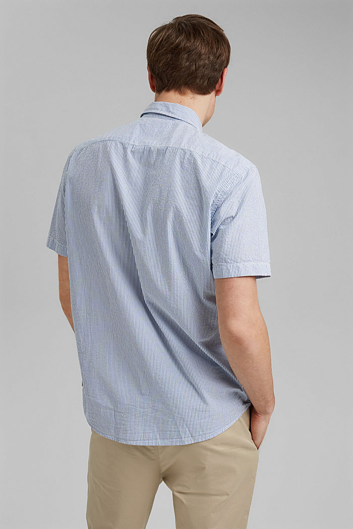 Overhemd met korte mouwen en kreukeffecten, biologisch katoen, BLUE, detail image number 3